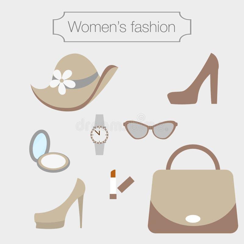 Собрание моды женщин аксессуаров sandybrown иллюстрация штока
