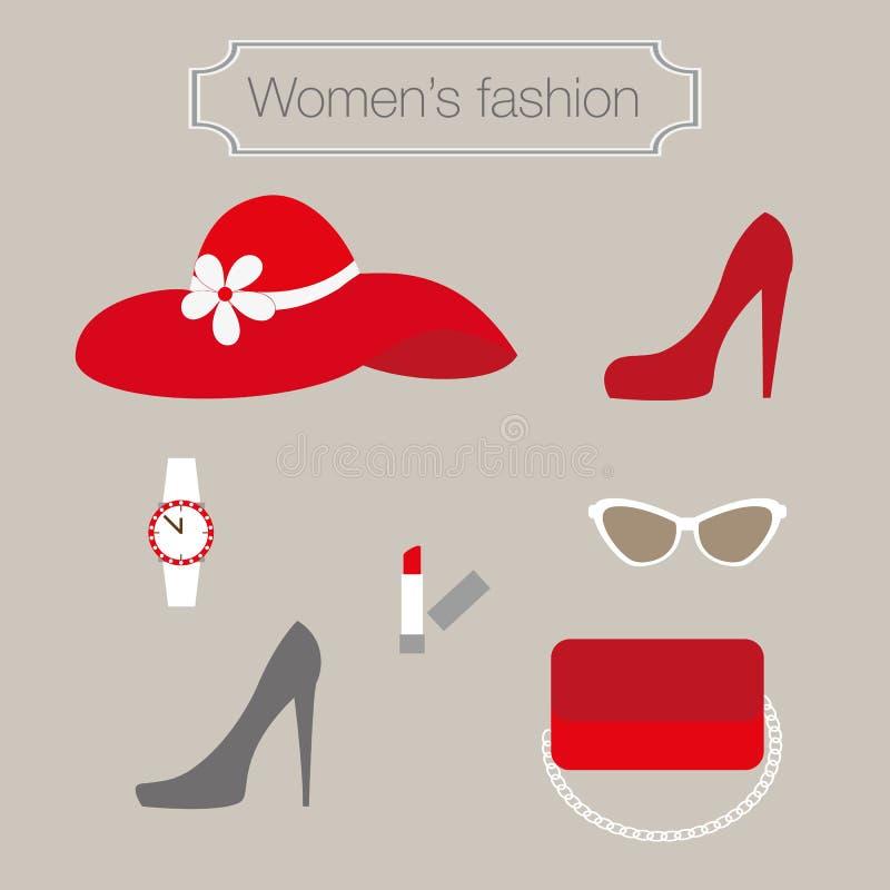 Собрание моды женщин красных аксессуаров бесплатная иллюстрация
