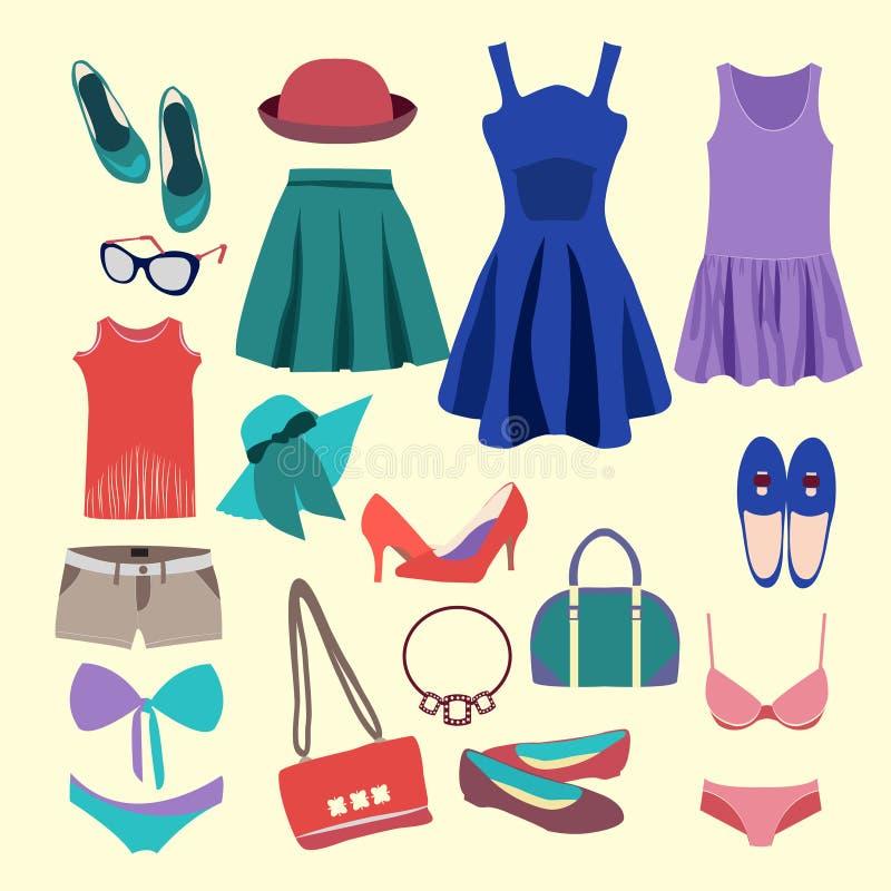 Собрание моды одежд лета иллюстрация штока