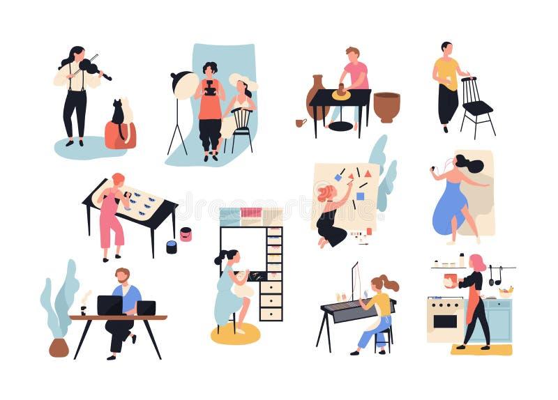 Собрание мужского и женского искусства, ремесленничества и творческих работников или профессионалов Комплект людей различного зан иллюстрация вектора