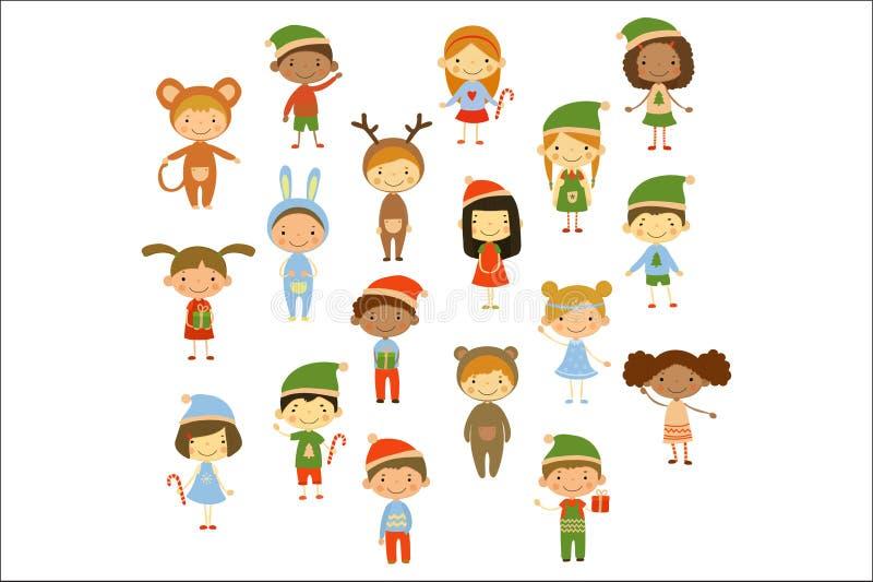 Собрание мультфильма маленьких детей в различных костюмах рождества Милые мальчики и девушки Смешные характеры детей плоско иллюстрация штока