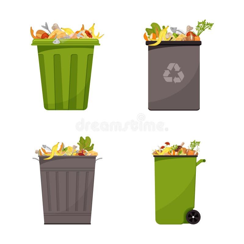 Собрание мусорных контейнеров заполненных с пищевыми отходами Иллюстрация для органических отходов, нул тем отхода, современной п иллюстрация штока