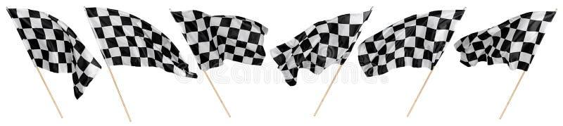 Собрание набора развевать спорт motorsport ручки черного белого chequered флага деревянный и участвовать в гонке предпосылка изол стоковое изображение rf