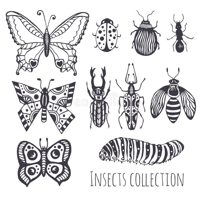 Собрание насекомых руки, милый комплект украшения для дизайна, значки, логотип или печать также вектор иллюстрации притяжки corel иллюстрация вектора
