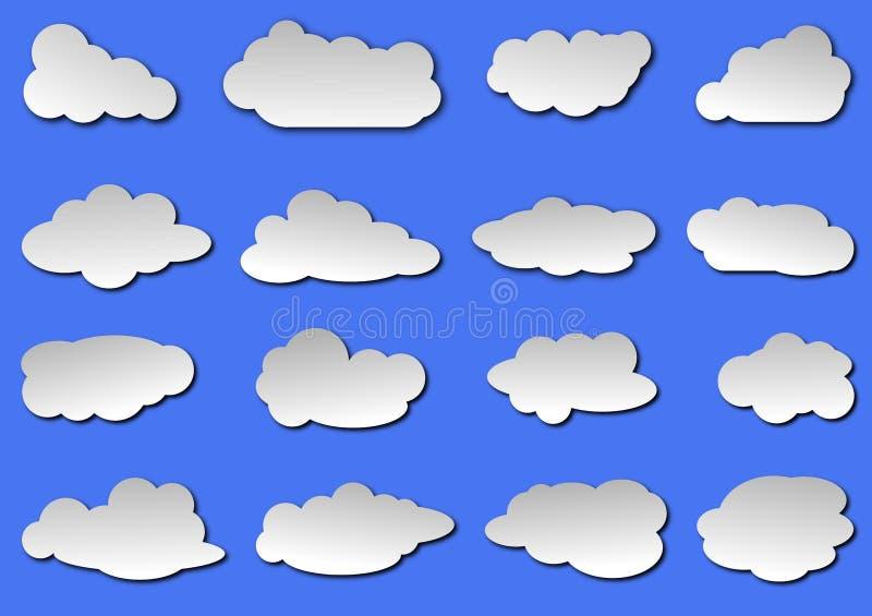 Собрание облака в иллюстрации вектора предпосылки голубого неба иллюстрация штока