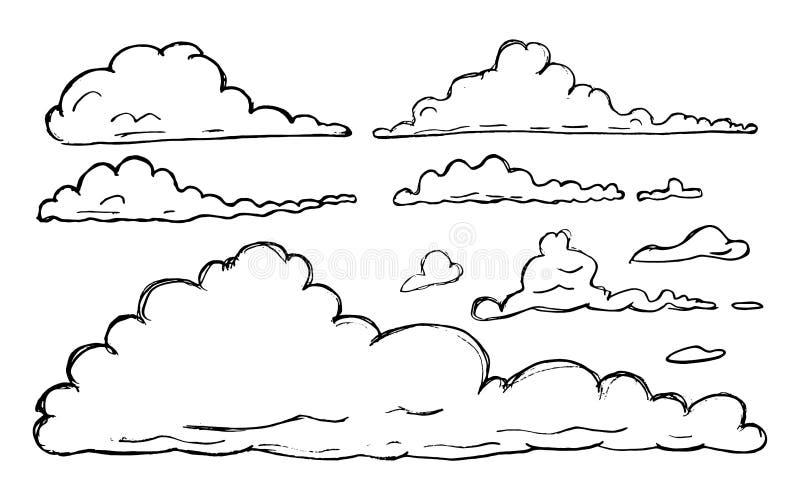 Собрание облака руки вычерченное схематичное изолированное на белой предпосылке бесплатная иллюстрация