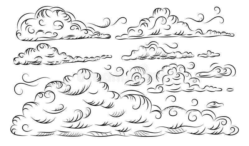 Собрание облака руки вычерченное схематичное изолированное на белой предпосылке иллюстрация вектора