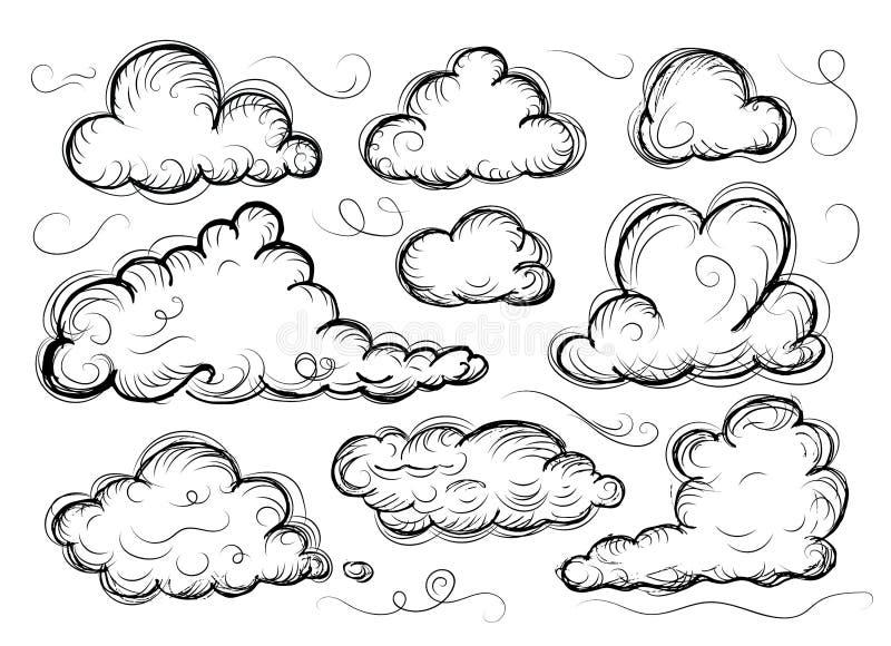 Собрание облака руки вычерченное схематичное изолированное на белой предпосылке иллюстрация штока