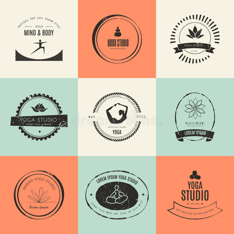Собрание логотипов йоги иллюстрация вектора