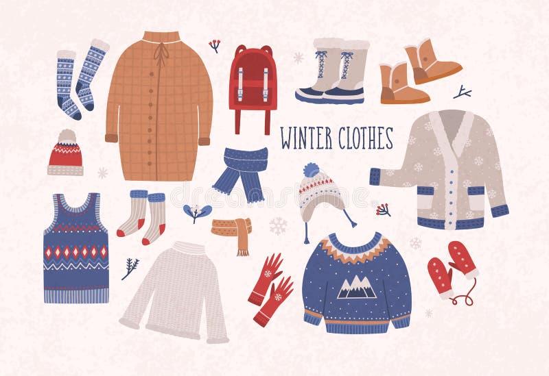 Собрание одежд и outerwear зимы изолированных на светлой предпосылке - шерстяном шлямбуре, кардигане, пальто, ботинках снега иллюстрация вектора