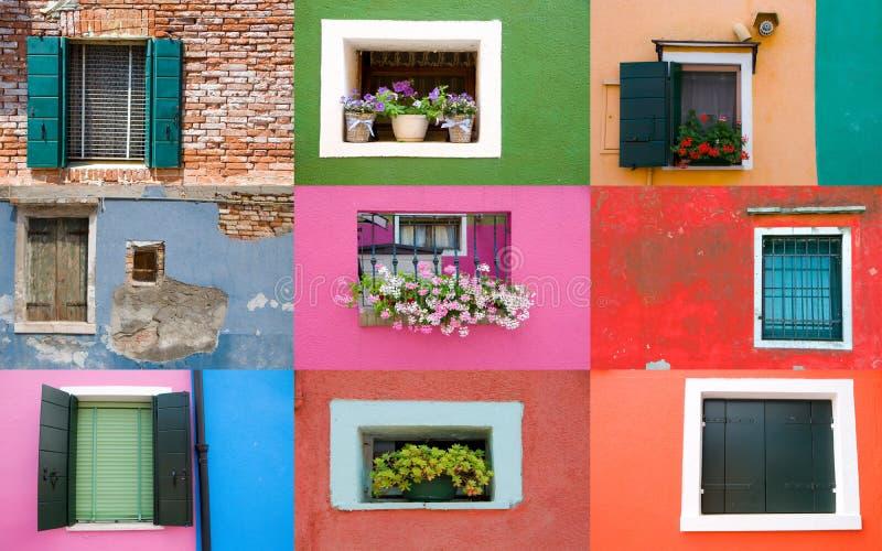 Собрание окон на покрашенных стенах стоковые фотографии rf