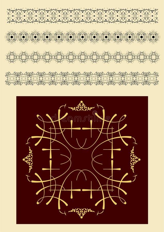 Собрание орнаментальных линий правила в различных стилях дизайна иллюстрация вектора