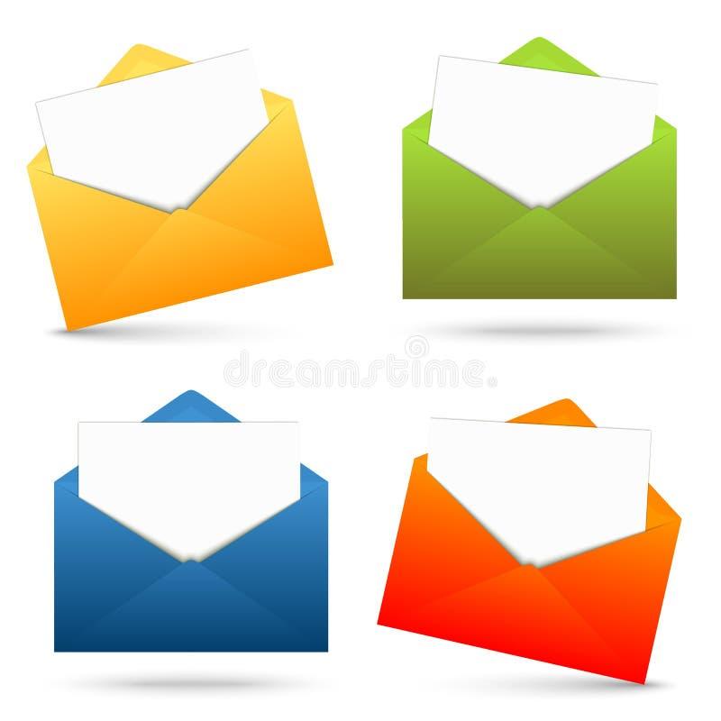 Собрание открытых конвертов и белой бумаги иллюстрация штока