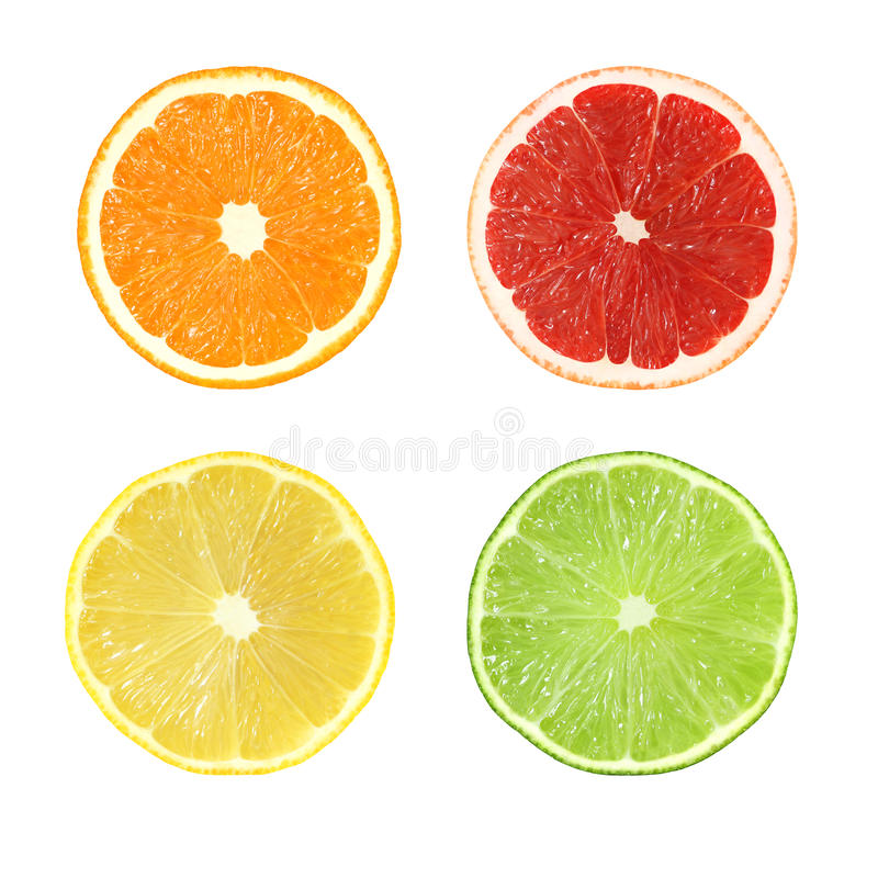 Собрание отрезанных цитрусовых фруктов изолированных с путем клиппирования стоковое изображение