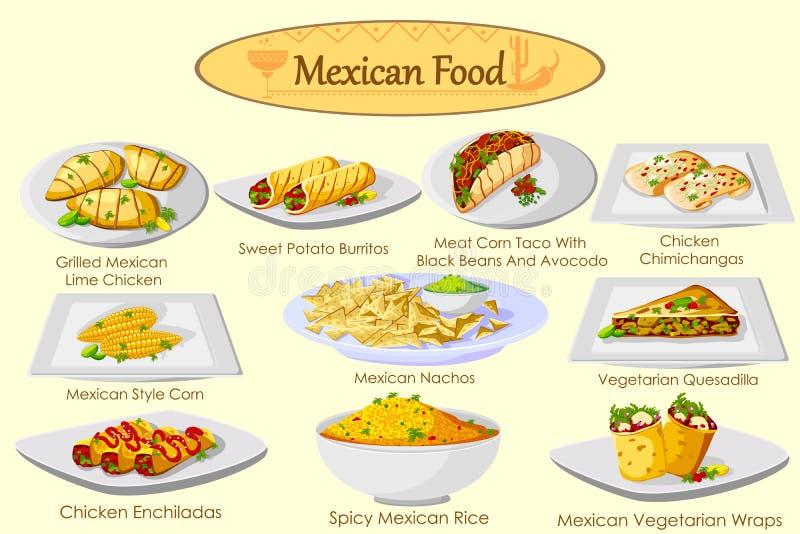 Собрание очень вкусной мексиканской еды бесплатная иллюстрация