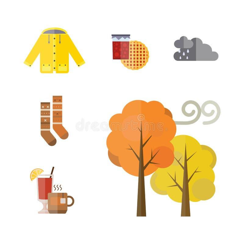 Собрание одежд осени установило детали жолудь падения выходит ботинки носок parka плаща пальто перчаток шарфа шляпы дерева бесплатная иллюстрация