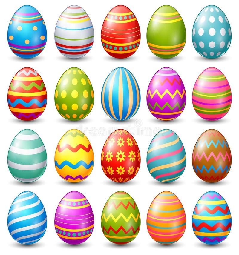 Собрание пасхальных яя на белой предпосылке иллюстрация штока