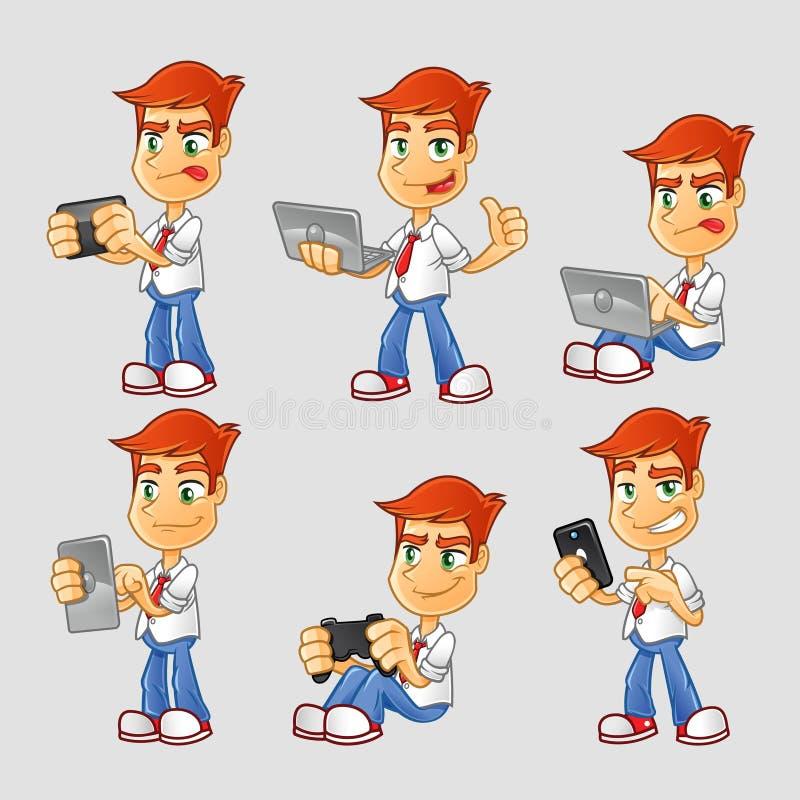 Собрание персонажа из мультфильма идиота технологии иллюстрация вектора