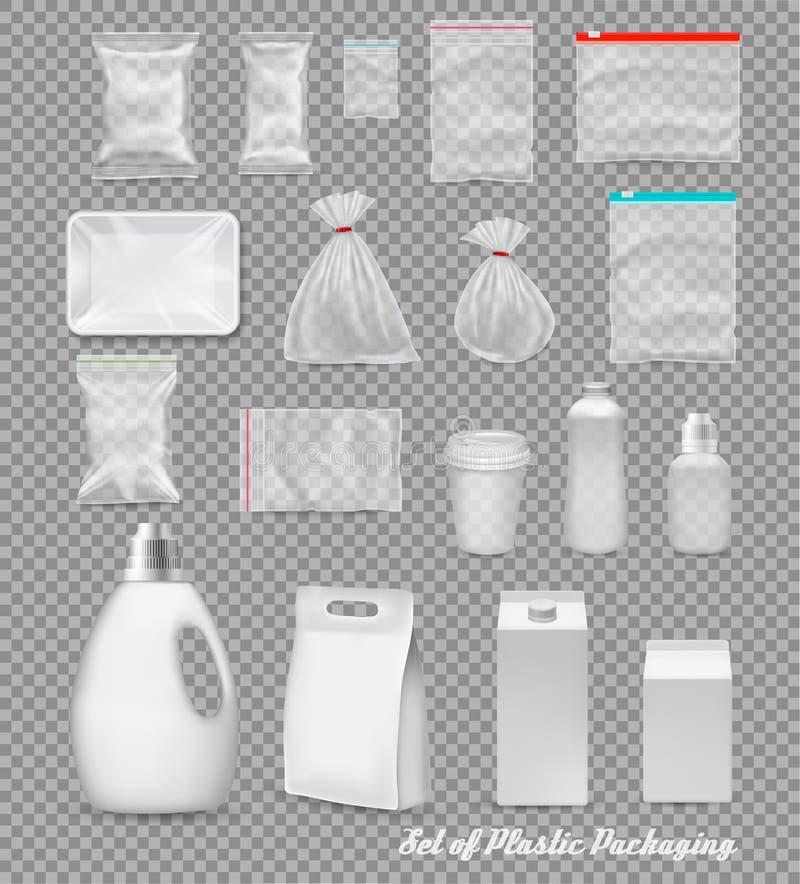 Собрание пластиковой упаковки полипропилена иллюстрация штока