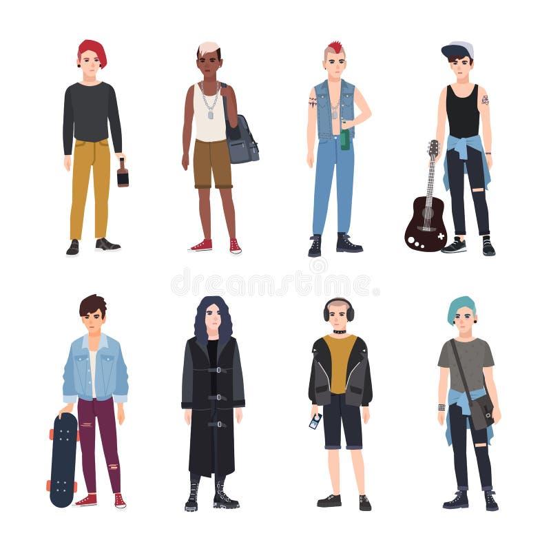 Собрание подростков, вентиляторов различных субкультур молодости или контркультур - панка, утеса, тазобедренного хмеля, скейтборд иллюстрация штока