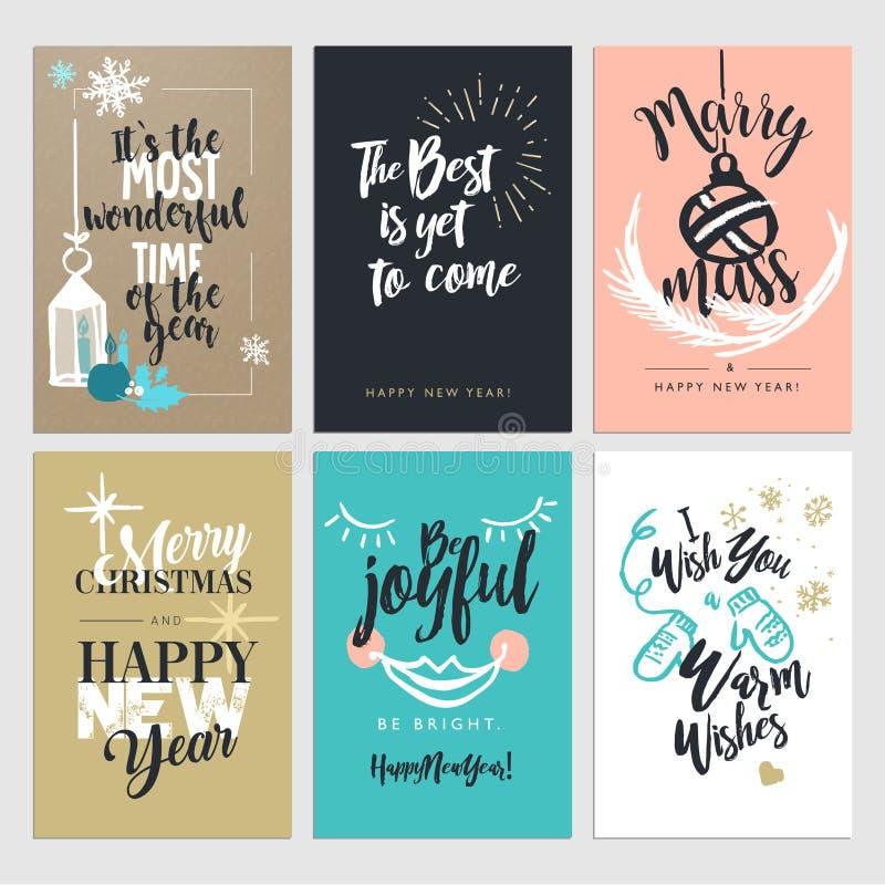 Собрание поздравительных открыток дизайна рождества и Нового Года плоское иллюстрация вектора