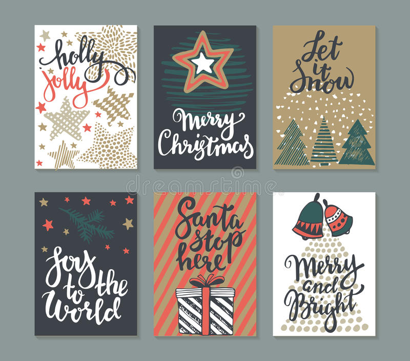 Собрание 6 поздравительных открыток рождества иллюстрация вектора