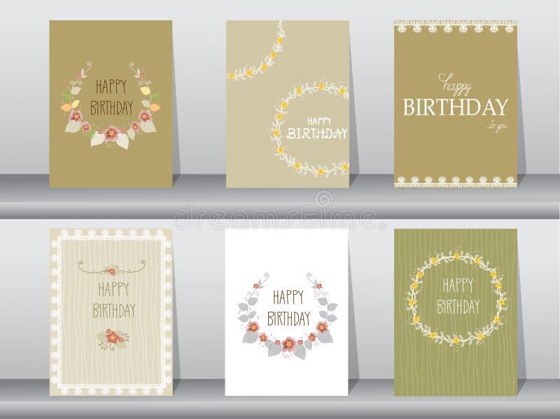 Собрание поздравительой открытки ко дню рождения приглашения или с флористической рамкой, иллюстрациями вектора иллюстрация вектора