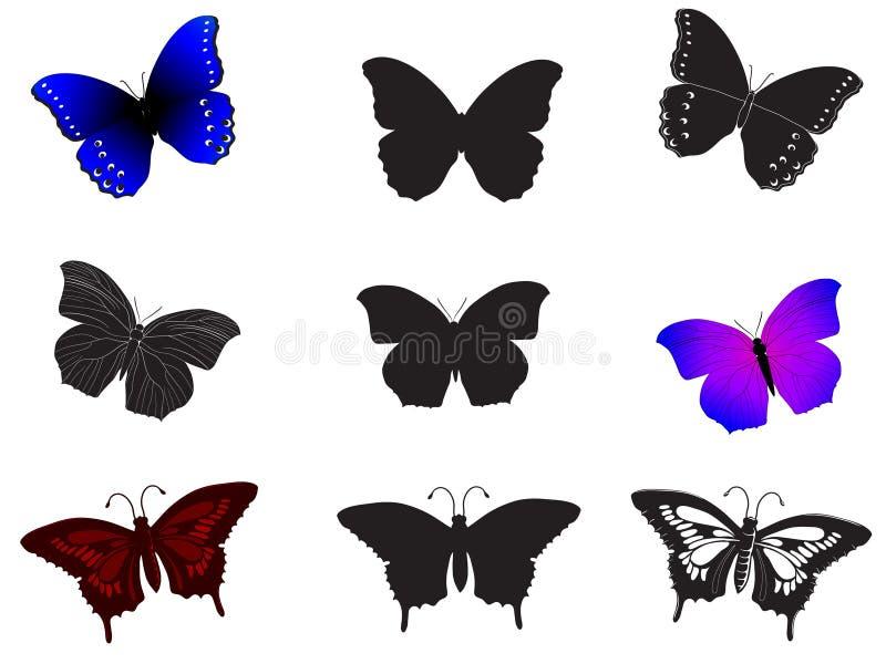 Собрание покрашенных и черных силуэтов бабочек руки вычерченных бесплатная иллюстрация