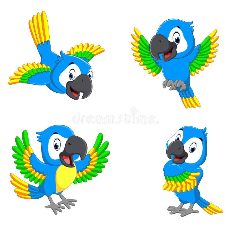 Собрание попугаев сини с счастливыми сторонами иллюстрация штока