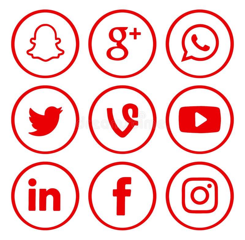 Собрание популярных социальных логотипов средств массовой информации стоковое изображение rf