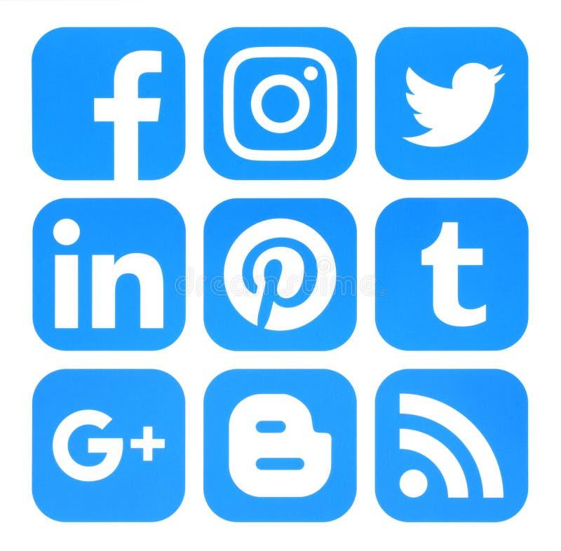Собрание популярных голубых социальных значков средств массовой информации напечатало на бумаге иллюстрация вектора