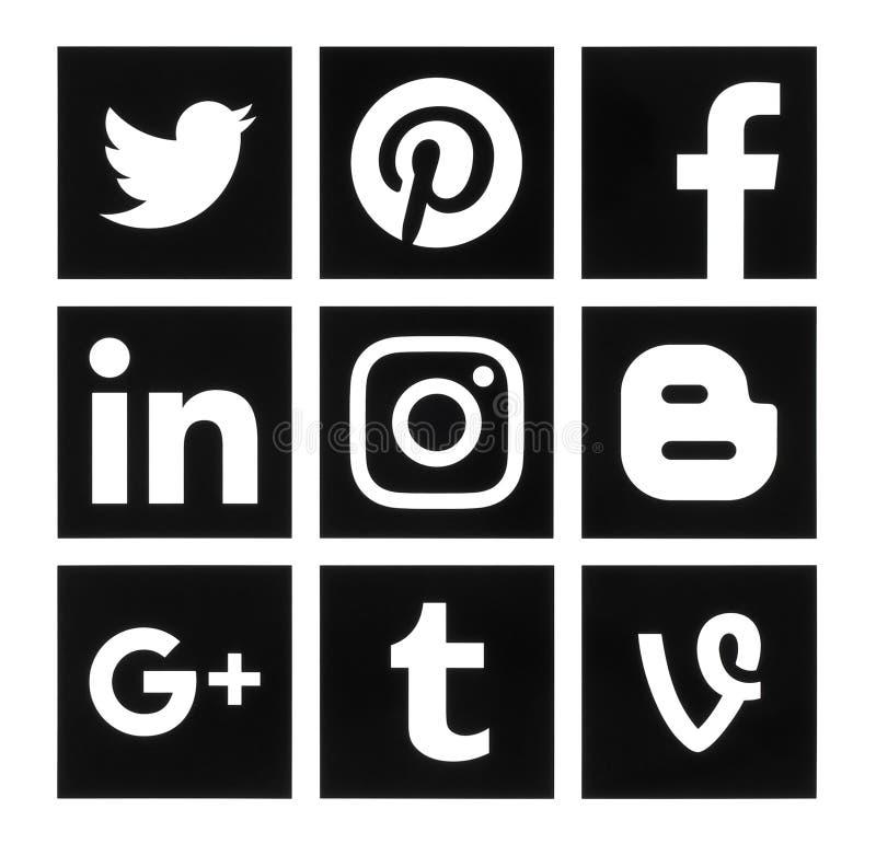 Собрание популярных квадратных черных социальных логотипов средств массовой информации иллюстрация вектора