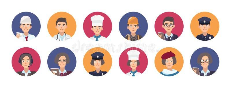 Собрание портретов усмехаясь людей различных профессий Комплект милых мужских и женских персонажей из мультфильма  бесплатная иллюстрация