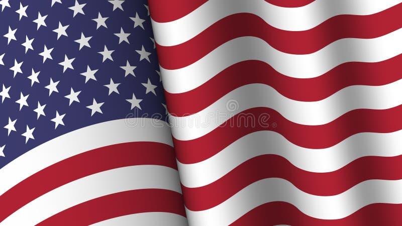 Собрание предпосылки флага Америки Развевая дизайн Коэффициент 16: 9 4-ая из концепции Дня независимости в июле r иллюстрация вектора