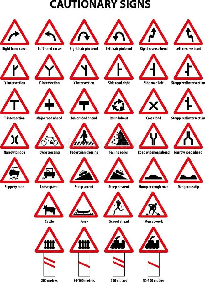 Предостерегающие знаки уличного движения иллюстрация штока