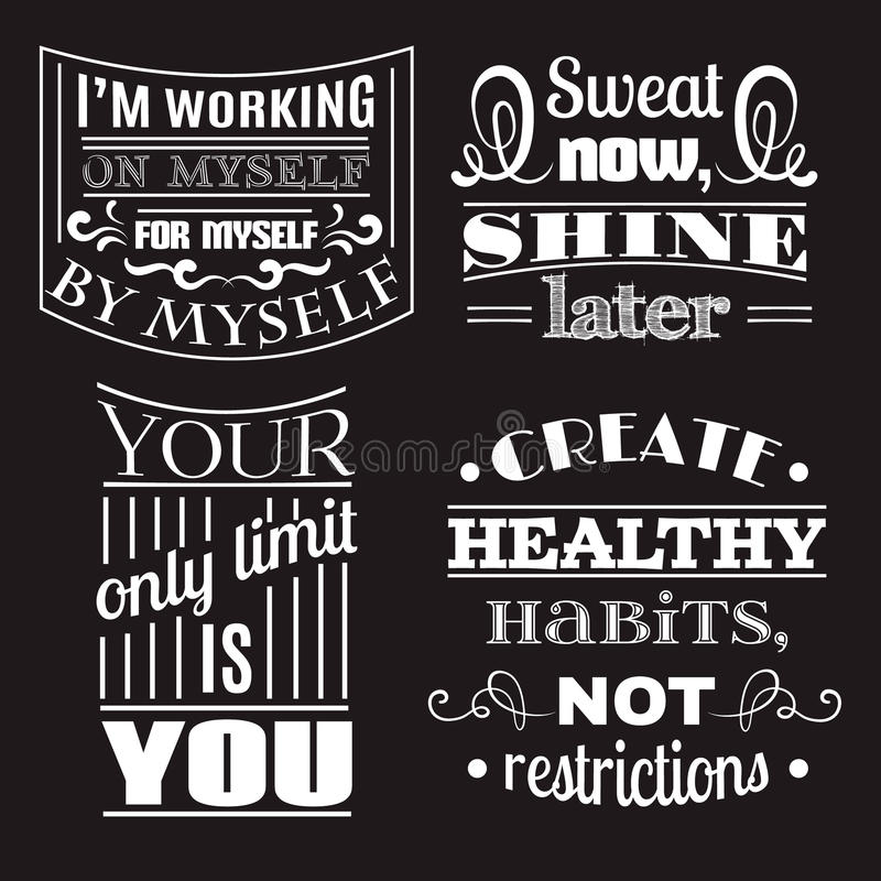 Собрание предпосылки здоровых цитат типографской иллюстрация вектора