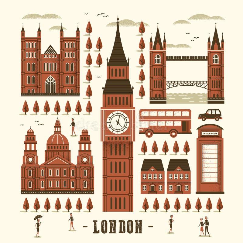 Собрание привлекательностей Лондона иллюстрация вектора
