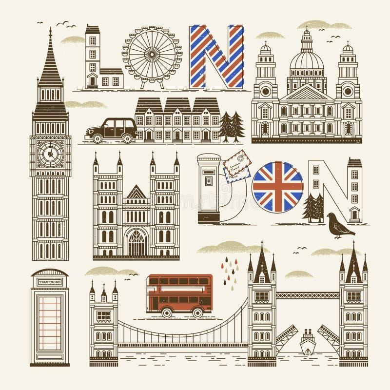 Собрание привлекательностей Лондона иллюстрация штока