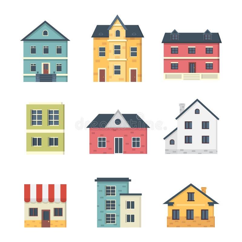 Собрание пригородных частных домов Экстерьер дома Набор значков вектора городской строя бесплатная иллюстрация