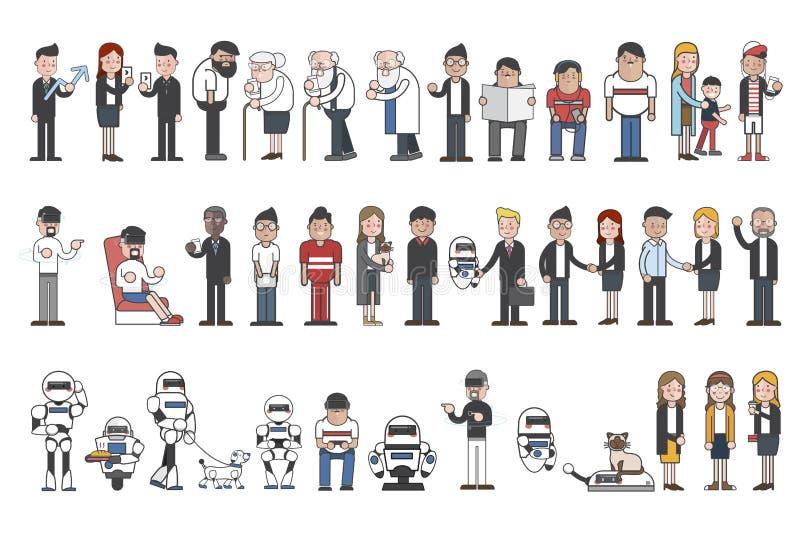 Собрание проиллюстрированных людей и роботов бесплатная иллюстрация