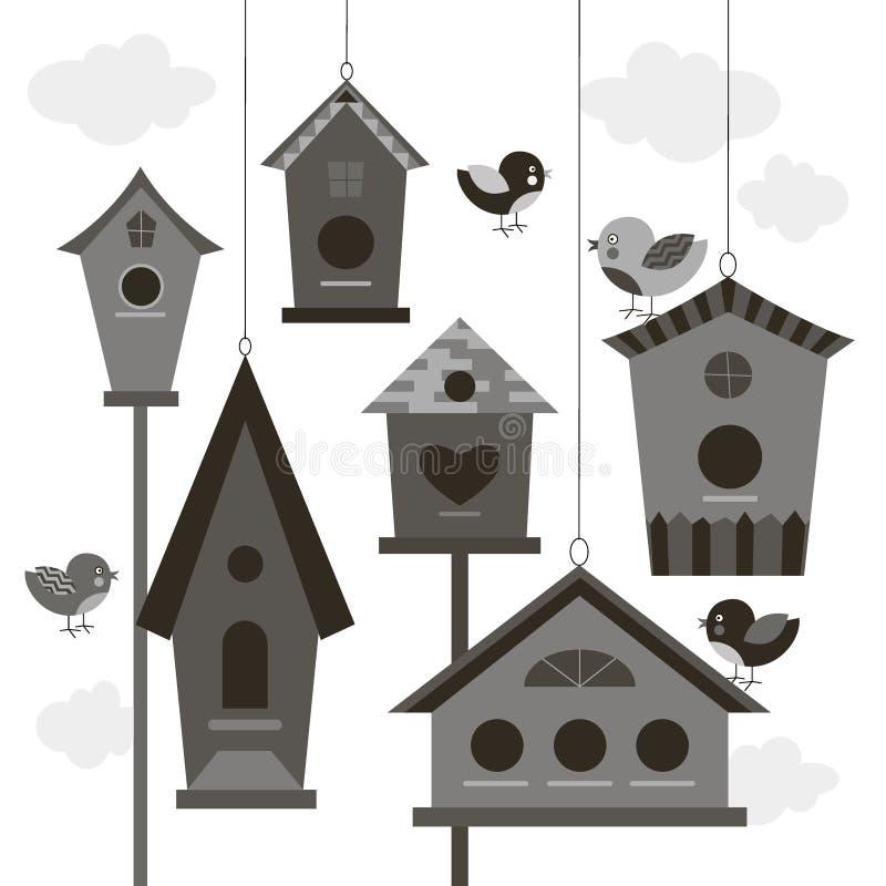 Собрание птиц и birdhouses иллюстрация вектора