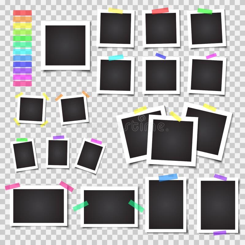 Собрание пустых рамок фото с тенью Большой комплект Различные красочные ленты бесплатная иллюстрация