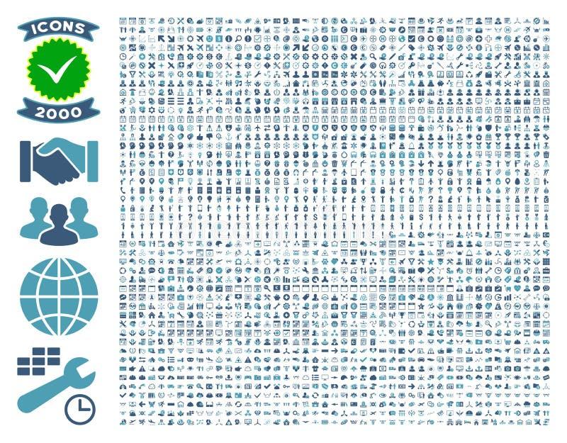 Собрание 2000 плоских значков вектора стоковые изображения