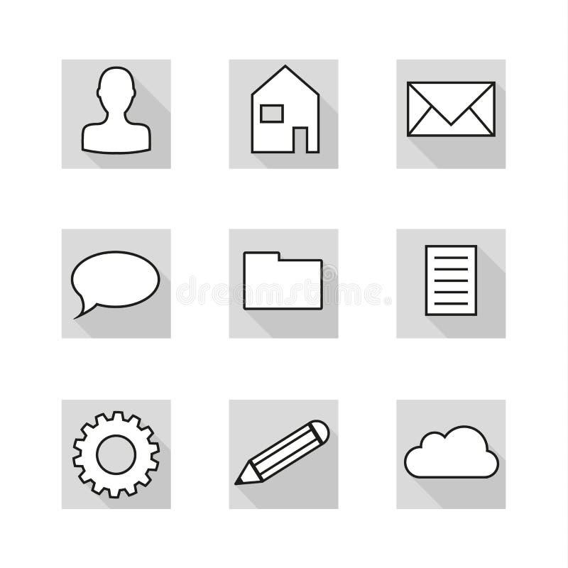 собрание 9 плоских значков в нейтральных цветах greyscale бесплатная иллюстрация