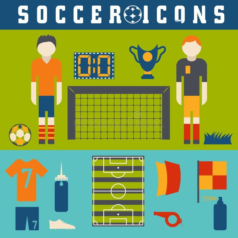 собрание плоских значков на теме футбола бесплатная иллюстрация