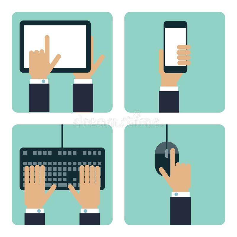 Собрание плоской руки 4 с концепцией связи используя таблетку, используя умный телефон, используя клавиатуру, иллюстрация штока