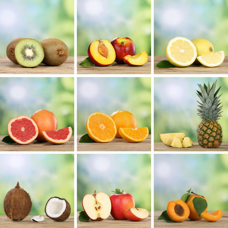 Собрание плодоовощей как апельсины, персики, ананас, лимоны стоковая фотография