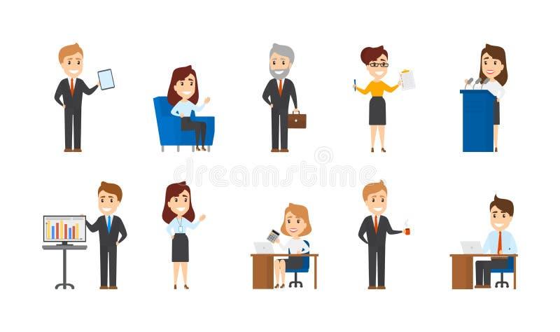 Собрание работников офиса в различных ситуациях иллюстрация вектора