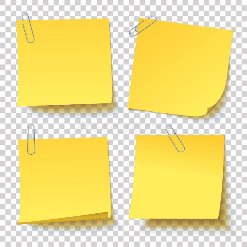 Собрание различного желтого стикера с прикрепленным зажимом бумаги стоковое изображение rf
