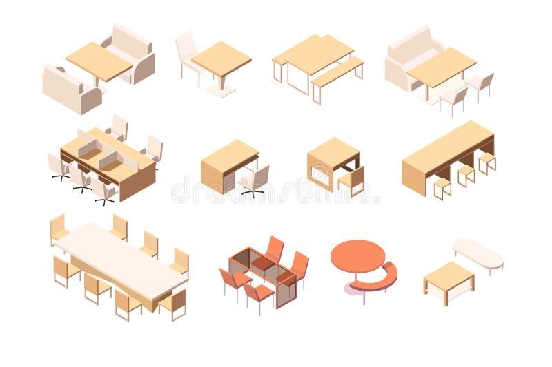 Собрание различной мебели для различных заведений и рабочего места бесплатная иллюстрация